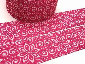 Fita de Gorgurão Estampada - Arabesco Pink - Artfitas - 38mm