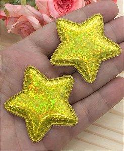 Aplique Acolchoado Estrela - Laser Amarela - 5x5cm - 2 Unidades