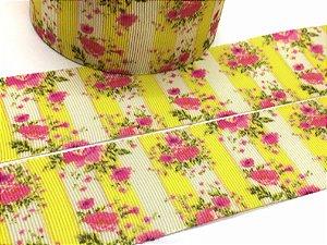 Fita de Gorgurão Estampada - Florzinhas Amarela Faixa Vertical - Artfitas - 38mm