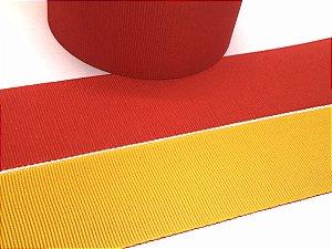 Fita de Gorgurão Dupla Face - Vermelha e Amarela - Artfitas - 38mm
