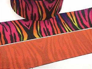 Fita de Gorgurão Estampada Dupla Face - Animal Print Zebra Multicor - Artfitas - 38mm