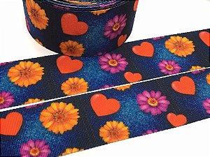 Fita de Gorgurão Estampada - Jeans e Flores - Artfitas - 38mm