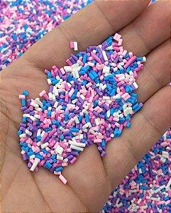 Granulados Coloridos de Biscuit - Lilás, Azul, Rosa e Branco - 10 gramas