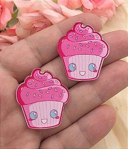 Aplique de Acrílico - Cupcake Rosa - 2 Unidades