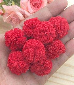 Pompom de Poliéster - Vermelho - 2,5cm - 10 unidade