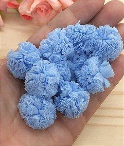Pompom de Poliéster - Azul - 2,5cm - 10 unidades
