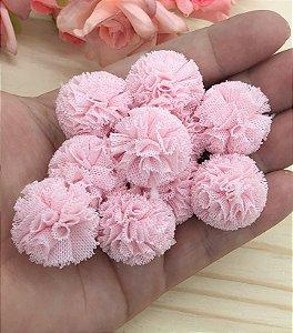 Pompom de Poliéster - Rosa Claro - 2,5cm - 10 unidades
