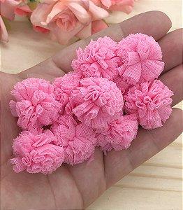 Pompom de Poliéster - Rosa Médio - 2,5cm - 10 unidades
