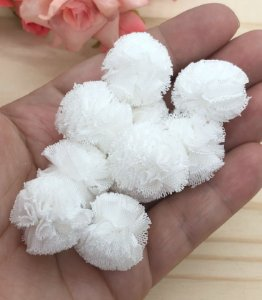 Pompom de Poliéster - Branco - 2,5cm - 10 unidades