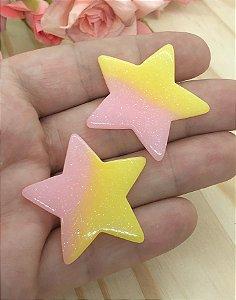Aplique de Estrela Candy - Rosa e Amarela - 2 Unidades