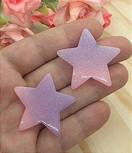 Aplique de Estrela Candy - Rosa e Lilás - 2 Unidades