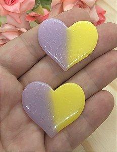 Aplique de Coração Candy - Rosa e Amarela - 2 Unidades