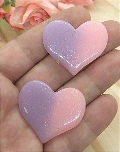 Aplique de Coração Candy - Rosa e Lilás - 2 Unidades