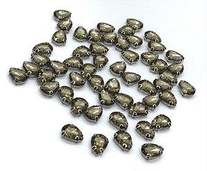 Pedra Gota Cristal com Garra Prata - Fumê - 10x14mm - 5 unidades