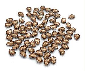 Pedra Gota Cristal com Garra Prata - Pessego - 10x14mm - 5 unidades