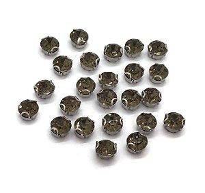 Pedra Redonda com Garra Prata - Fumê- 10mm - 5 unidades