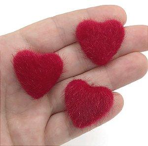 Aplique de Coração - Felpudo Peludinho - 2 Unidades