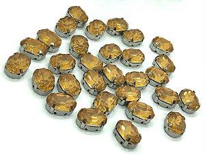 Pedra Oval com Garra Prata - Amarela - 10x14 - 5 unidades