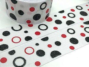 Fita de Gorgurão com Glitter - Branca Bolas Pretas e Vermelhas - Progresso - 38mm