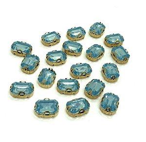 Pedra Retangular Garra Dourada - Azul Claro - 10x14 - 5 unidades