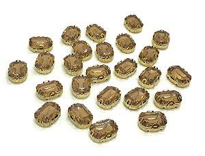 Pedra Retangular Garra Dourada - Mel Fumê - 10x14 - 5 unidades