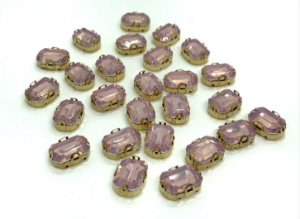 Pedra Retangular Garra Dourada - Rosa Claro Fumê - 10x14 - 5 unidades