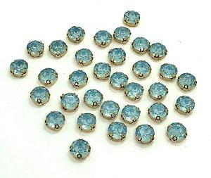Pedra Redonda Garra Dourada - Azul Claro - 10mm - 5 unidades