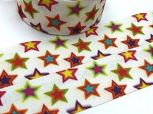 Fita de Gorgurão Estampada - Estrelas Coloridas - Artfitas - 38mm