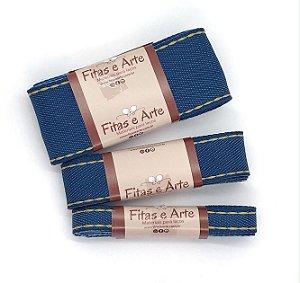 Kit Fitas Jeans - Lavagem Azul Escuro - 2 metros de cada largura