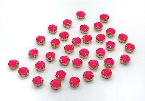 Engrampado de Acrílico Redondo Garra Dourada - Rosa Neon - 8mm (pequeno) - 5 unidades