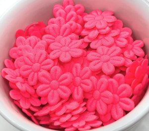 Florzinha de Tecido Pequena - Rosa Neon - 20 unidades