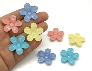 Florzinhas de Acrílico com Brilho - 2 Unidades