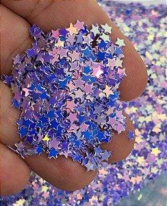 Micro-Apliques - Estrelinhas Lilás - Pacote 10 gramas