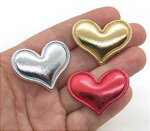 Aplique Coração Metalizado - 2 Unidades