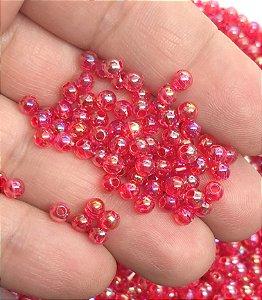 Bolinha Irizada - Vermelha - 4mm - Para bordar - Garrafinha Aprox. 15 gramas