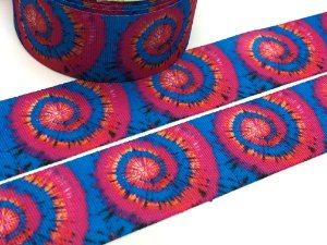 Fita de Gorgurão Estampada - Tie Dye Azul e Rosa - Artfitas - 38mm