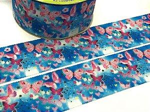 Fita de Gorgurão Estampada - Borboletinhas Rosa fundo Azul - Artfitas - 38mm