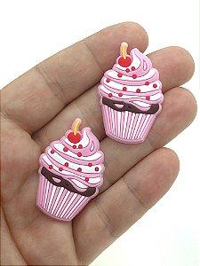 Aplique Emborrachado - Cupcake Rosa - 2 Unidades