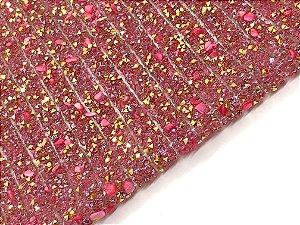 Manta de Fileiras Cascalho - Pink com Strass - 2 fileiras