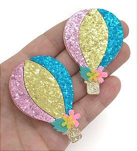 Aplique de Balão Brilho - Rosa/Dourado/Azul - 4,5x6,5cm - 2 unidades