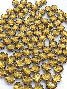 Engrampado - Garra Prata - Oval Pequeno - AMARELO - 10x8 - Pacote com 5 unidades