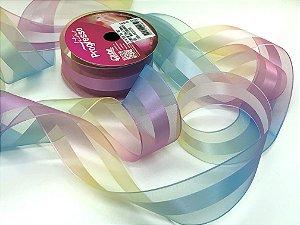 Fita de Organza e Cetim - Multicor Candy - 38mm - Progresso