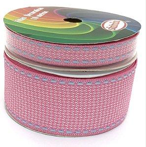 Fita de Gorgurão Pespontada com Textura - Rosa Claro - Sinimbu - 10mm ou 38mm