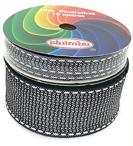 Fita de Gorgurão Pespontada com Textura - Preta - Sinimbu - 10mm ou 38mm
