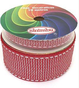 Fita de Gorgurão Pespontada com Textura - Vermelha - Sinimbu - 10mm ou 38mm