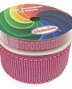 Fita de Gorgurão Pespontada com Textura - Rosa Pink - Sinimbu - 10mm ou 38mm
