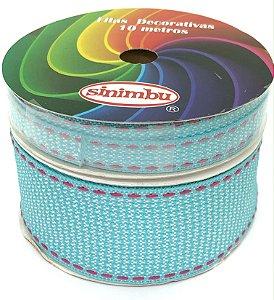 Fita de Gorgurão Pespontada com Textura - Azul Claro - Sinimbu - 10mm ou 38mm