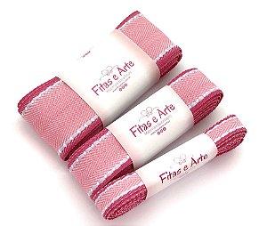 Kit de Fita Pespontada com Borda Colorida - Rosa com Borda Pink - 2 metros de cada largura