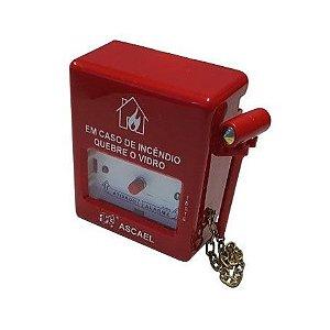 Botoeira Acionador de Alarme de Incêndio Convencional Quebra Vidro Ascael - AQVS-A 0051