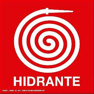 Placa de Sinalização Fotoluminescente - Hidrante 20x20 cm